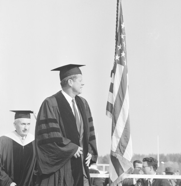 John F. Kennedy visits the University of Maine in October 1963.
