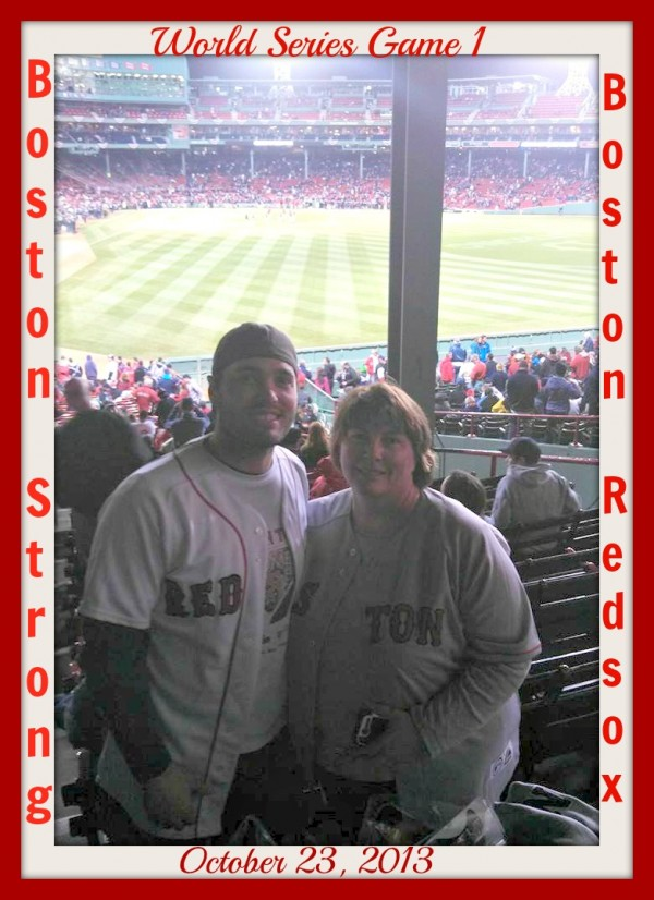 Joshua Jackson and his mom, Cindy Jackson, both of Bucksport, at Game 1 of the MLB World Series Wednesday night at Fenway Park. Joshua Jackson is a huge Red Sox fan and has attended many games, but always hoped someday he would be able to attend a World Series Game. His mom was able to get tickets to Wednesday night's game as an early Christmas present and took him.