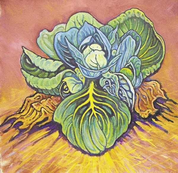 "In the Ken Massar painting titled ""Surprise in the Cabbage Patch"" viewers wonder what they &quotsee&quot in the cabbage. Just a cabbage? Harmless eyes? The face of a monster? You decide. ""You're not looking at a representation of a cabbage,"" said Massar. ""You're looking at a metaphor."""