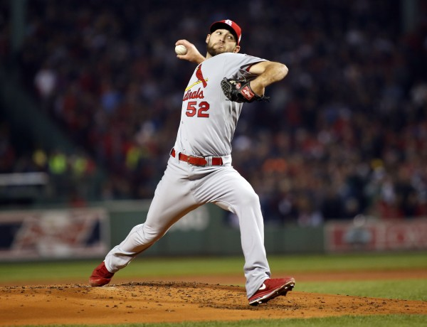 St. Louis Cardinals starting pitcher Michael Wacha (52) throws against the Boston Red Sox during the first inning of game six of the World Series at Fenway Park.