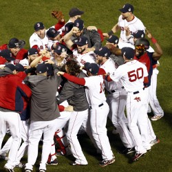 Victorino grand slam lifts Red Sox by Tigers to berth in World Series