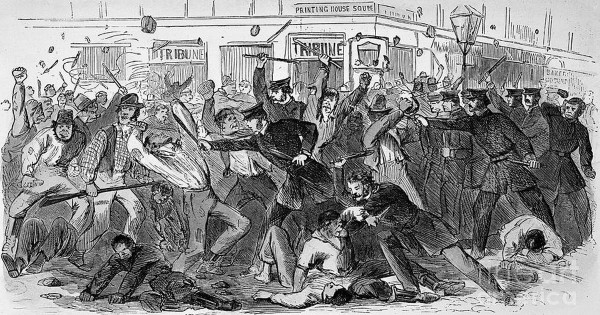 The Aug. 1, 1863, issue of Harper's Weekly featured detailed reports about the July 13-16 New York City Draft Riots and this sketch of New York City police battling rioters outside the offices of the New York Tribune. Anti-draft resistance also flared in Franklin County in Maine; in Kingfield, Salem, and elsewhere, draft officials were threatened with physical harm if they did not surrender the notices they were scheduled to serve to potential draftees. The events taking place in Franklin County were collectively known as the Kingfield Rebellion.