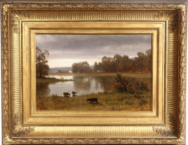 Oil on canvas painting, 'A Break in the Storm', by Albert Bierstadt (NY/CA/MA, 1830-1906) to be sold at Thomaston Place Auction Galleries on Saturday, Nov. 9