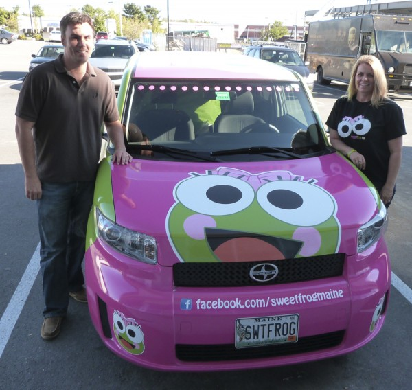 Doug and Alison Reed of Hermon are opening the new sweetFrog Premium Frozen Yogurt franchise on Stillwater Avenue in Bangor. To advertise their new business, they have been driving a green-and-pink Scion throughout the Bangor area.