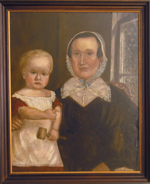 Circa 1844 or 1845, portrait artist F.G. Haynes painted this oil painting of Lovina Church and her 2- or 3-year-old son, Charles Harrison Church. Now owned by Dr. Alan Boone and his wife, Gayle, of Bangor, the painting was recently restored by John Squadra, a well-known fine art restorer.