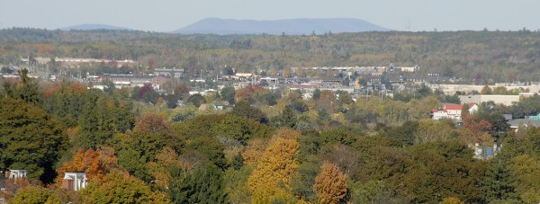 Visitors participating in the fall open house at the Thomas Hill Standpipe in Bangor could see Passadumkeag Mountain rising on the northeastern horizon. Among the Bangor Mall-area businesses visible are Macy's, Lowe's, Best Buy, Van Syckle, and Target.