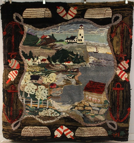 Circa 1940s pictorial hooked rug from the Pribyl Collection to be sold in Thomaston Place Auction Galleries Fall Fine Art & Antiques Auction on Nov. 9 & 10