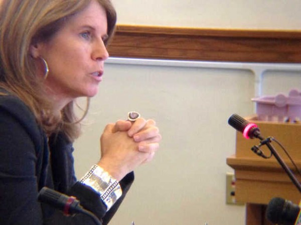 Maine Department of Health and Human Services Commissioner Mary Mayhew speaks Wednesday to the Appropriations and Financial Affairs Committee on Riverview Psychiatric Center funding.