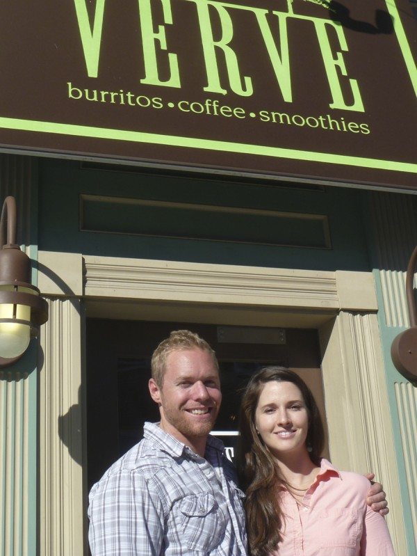 Abe and Heather Furth, owners of Verve, stand in the doorway of the burrito restaurant in Orono. They are in the process of opening a new Verve at 89-91 Main St. in Bangor.
