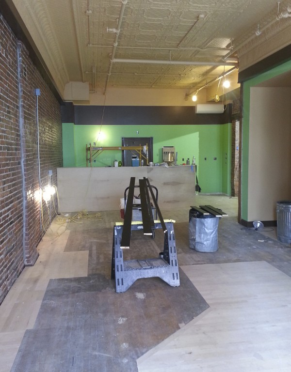 A beautiful tin ceiling and a hardwood floor were among the discoveries Heather and Abe Furth of Orono made as renovations at 89-91 Main St. in downtown Bangor took place over the last few months. The Furths will open their second Verve burrito restaurant in October at the location.
