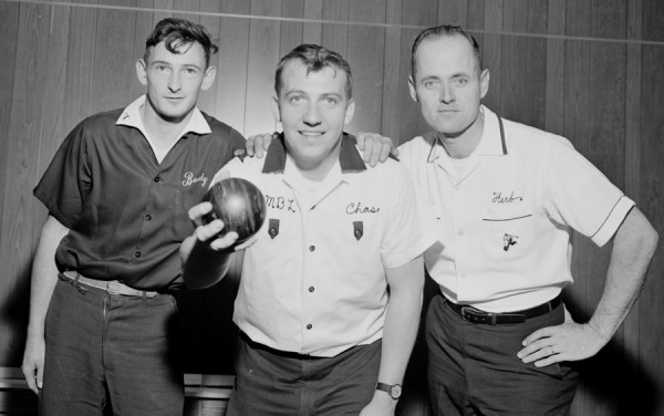 Bangor Daily News Photo by Carroll Hall Charles Milan III (center) of Bangor took first place honors with a score of 1285 in the candlepin rolloff held Saturday, Nov. 24, 1962 at the Bangor-Brewer Bowling Lanes in Brewer. Herb McBride (right) of Westbrook was second with 1254, while Wayne Soule (left) of Waldoboro was third at 1252. The event was sponsored by the Maine State Bowling Association.