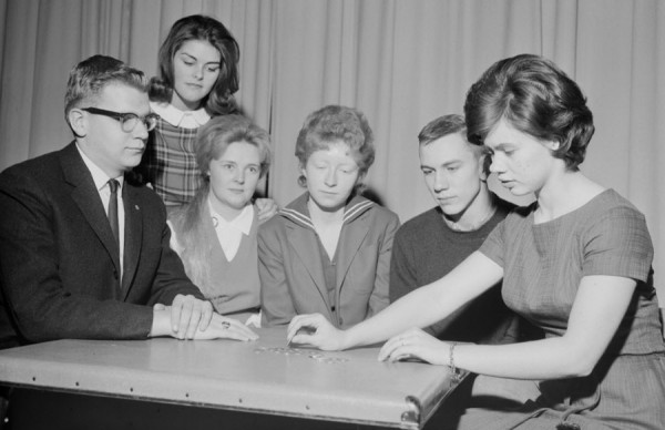 The senior class play, &quotI Remember Mama,&quot will be presented Friday, Nov. 30, 1962 at Brewer High School. Rehearsing their roles on Thursday, Nov. 22 were (from left) Reginald Merrill, Louise Copeland, Susan Lyford, Ellen Gilley, Melvin Mealey, and Janice Grant in a scene from Act One.