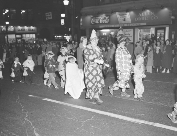 A crowd estimated by police at 15,000 spectators lined Bangor streets on Friday, Oct. 31, 1952, to watch the fifth annual Halloween parade sponsored by the recreation department. A long line of spooks and goblins marched for prizes that were awarded for the most original ideas.
