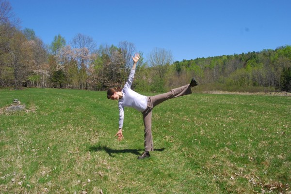Half Moon posture in the field at FPAC.