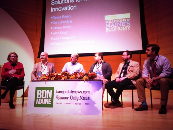 BDN Business Editor Whit Richardson (right) moderates a panel at MaineFocus: Solutions for Maine's Economy at USM in Portland Wednesday. Speaking were Tanya Emery (from left), Dan Gooding, James Knight, Jess Knox and Luke Livingston.