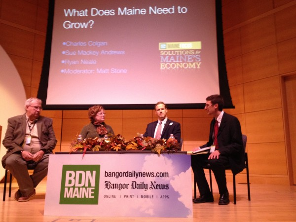 BDN Opinion Editor Matt Stone (right) moderates a panel at MaineFocus: Solutions for Maine's Economy at USM in Portland Wednesday. Speaking were Charles Colgan (from left), Sue Mackey Andrews and Ryan Neale.
