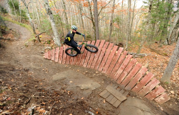 Walter Szarka of Warren rides his mountain bike on some of the custom built trails at the Camden Snow Bowl on Sunday.