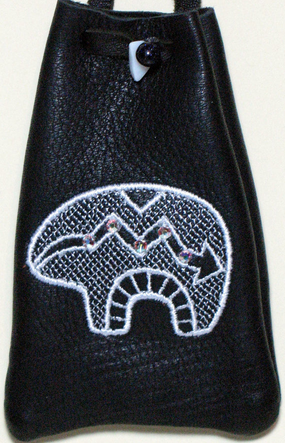 Embroidered Zuni Style Spirit Bear on Black Deerskin Pouch