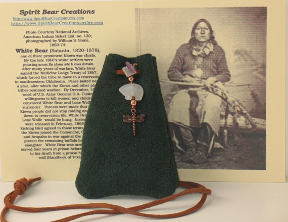 White jade Zuni Style Bear and Copper Dragonfly with Amethyst Nugget on green deerskin suede pouch.