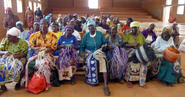 Grandmothers in Nyumbani Village in Kenya weave baskets that are sold in the United States through the organization Tuko Pamoja.