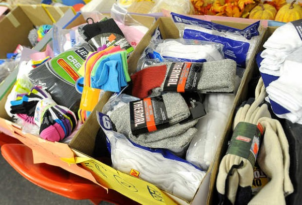 Boxes of donated socks were delivered to Hope Haven Gospel Mission in Lewiston on Monday, the result of a sock drive by Patrick Myers, 11, of Park View Elementary School in Auburn.