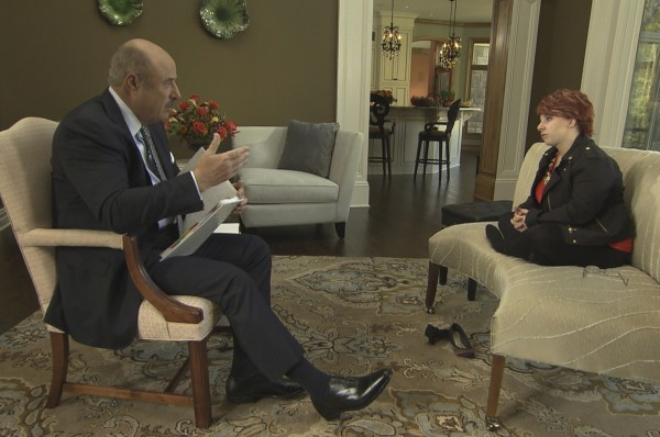 Michelle Knight, the first of Ariel Castro's Cleveland kidnapping victims, is interviewed by Dr. Phil McGraw during the taping of the Dr. Phil Show in Cleveland, Ohio in this handout provided by CBS Television November 4, 2013.
