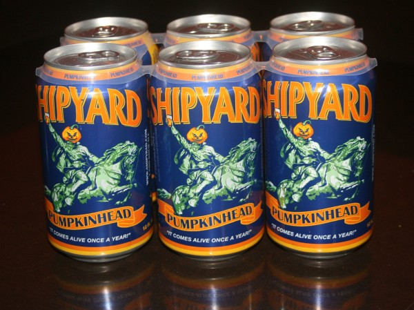 Shipyard Brewing Company's Pumpkinhead Ale is available in can six-packs.