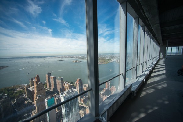 Lower Manhattan is seen from the 71st floor of the 4 World Trade Center building in September.