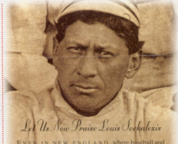 Louis Sockalexis of Indian Island appears in a team photo with the Lowell (Mass.) baseball club in the New England League in 1902.