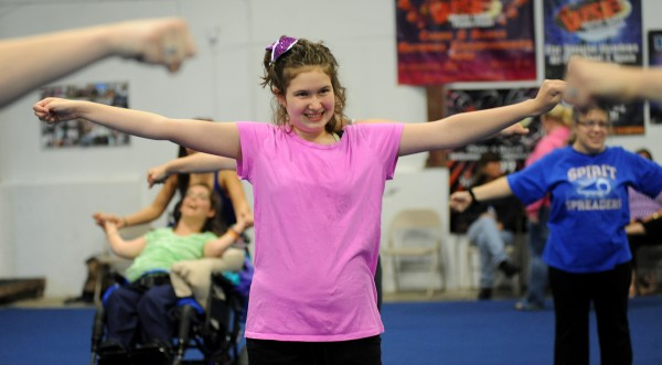 Sydney Newcomb, a seventh grader at Holbrook, practices a routine on Oct. 17 at Big 10 Cheer. Newcomb was one of the first students to join the Cheer Magic All Star Special Needs Team when it began in May.
