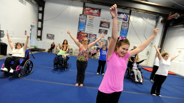 Sydney Newcomb, a seventh-grader at Holbrook, practices a routine on Oct. 17 at Big 10 Cheer. Newcomb was one of the first students to join the Cheer Magic All Star Special Needs Team when it began in May.
