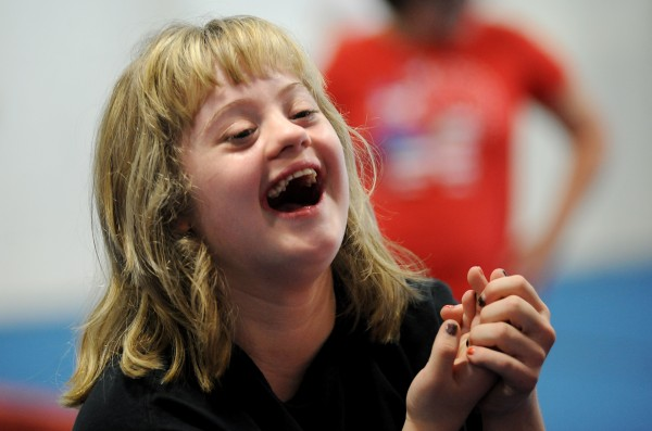 Ciarra Boucher, a student at Big 10 Cheer in Hermon jokes around during practice on Oct. 17. Ciarra is one of 11 students on the Cheer Magic All Stars special needs team at Big 10 Cheer.