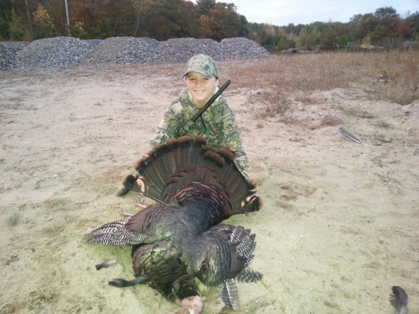 Parker Desjardins, 10, of Jackman poses with the 19-pound turkey he shot on Oct. 14, 2013. In his first season of hunting, Parker completed a &quotgrand slam,&quot tagging a turkey, a bear, a deer and a moose.