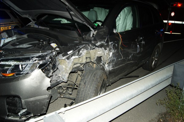 A two-vehicle crash in Holden occurred Saturday night. This 2014 Kia Sorento driven by Joshua Strout of Harrington was struck by a 1999 Mazda pickup truck that crossed the centerline on the Main Road.