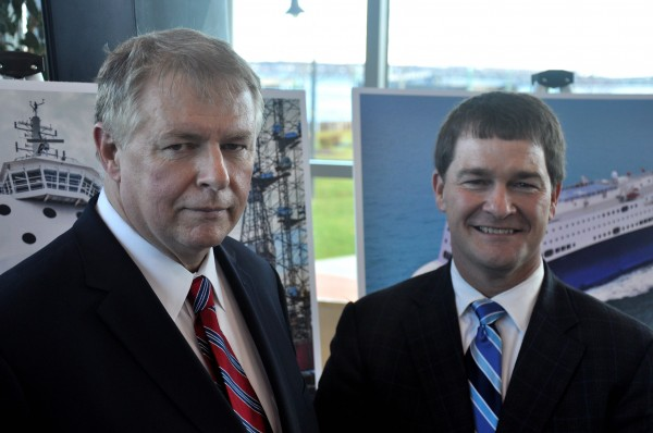 Mark Amundsen (left), CEO of STM Quest and Nova Star Cruises, and Steve Durrell, chief operating officer of the companies, spoke in public for the first time about Nova Star Cruises' launch of renewed ferry service between Portland Nova Scotia. Amundsen and Durrell are both graduates of Maine Maritime Academy. Before launching STM Quest, the pair worked together at Irving Shipbuilding in Halifax.
