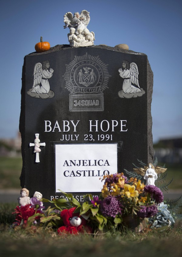 The tombstone of Anjelica &quotBaby Hope&quot Castillo is seen in the Bronx borough of New York in October. Anjelica Castillo's name has since been engraved on her tombstone, which was originally paid for by  New York detectives.