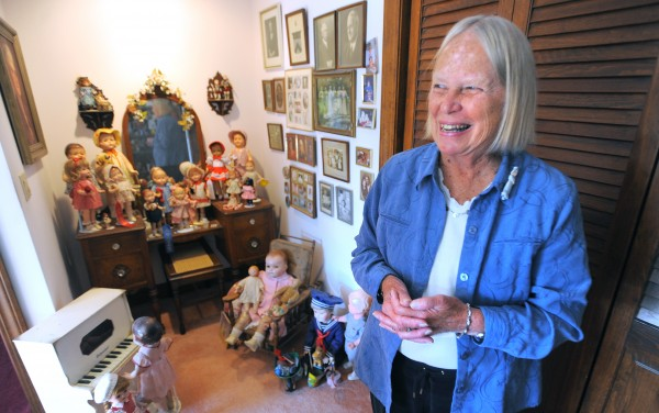 Anne Sleeper of Hermon with some of her doll collection. Sleeper is the president of Maine-ly Doll Club.