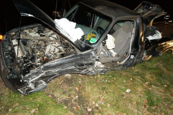 It took two pieces of extrication equipment to get Herbert Henderson, 74, of Orrington out of his 1999 Mazda pick-up truck Saturday night, Oct. 9, 2013, after the truck struck two vehicles head-on while heading west on the Main Road.
