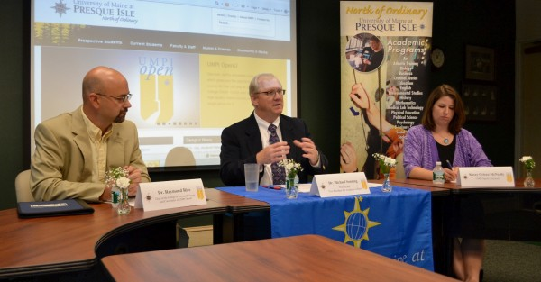 Michael Sonntag (center), University of Maine at Presque Isle provost and vice president for academic affairs, discusses the university''s new online learning project UMPI OpenU during a 2012 press conference.