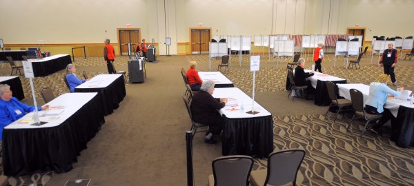 The polls at the Cross Insurance Center in Bangor Tuesday morning.