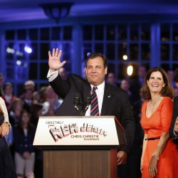 Republican New Jersey Governor Chris Christie addresses his supporters at his election night party on Nov. 5, 2013.