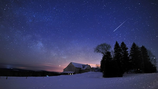 The International Space Station shoots across the night sky above Noah Yoder's barn in Fort Fairfield at 5:43 a.m. on Feb. 11, 2011.
