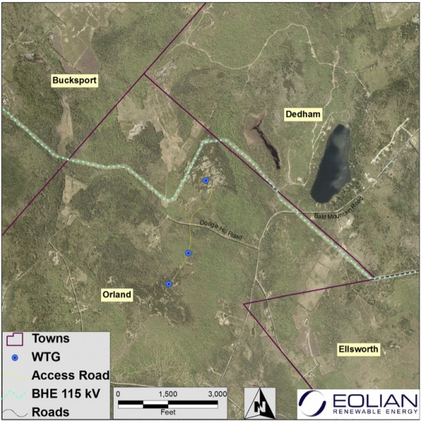 A &quotconceptual turbine layout&quot was presented to Orland residents at an informational meeting about a potential wind project in this town. In reference to this plan, the developer's public relations person said: &quotExact locations are subject to change during design and permitting of the project in compliance with local and state regulations.&quot