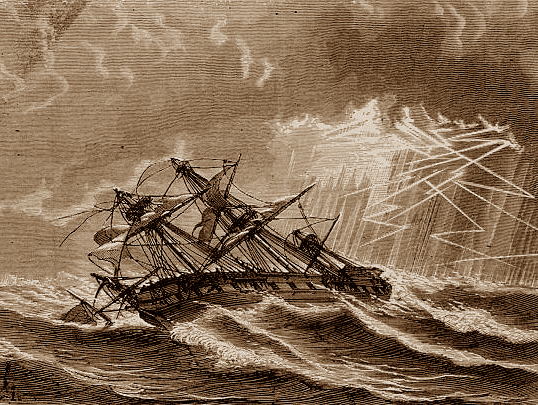 A woodcut showing an 18th century brigantine in a gale at sea.