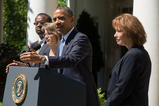 President Barack Obama delivers a statement announcing the nomination of three candidates for the U.S. Court of Appeals for the District of Columbia Circuit, in the Rose Garden of the White House, June 4, 2013.
