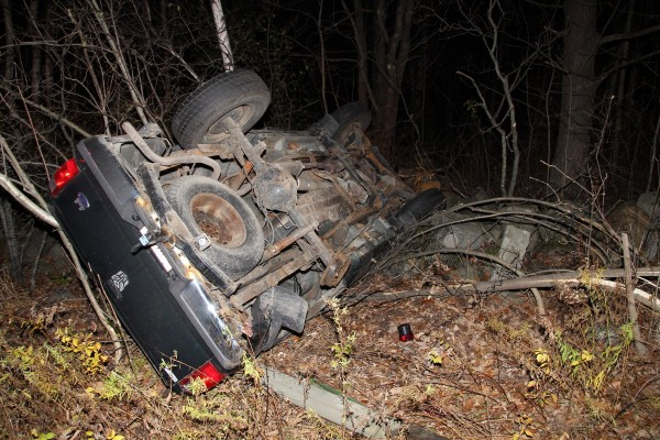 Colby Miles, 23, of Thomaston rolled his pickup truck in Rockland on Saturday night.