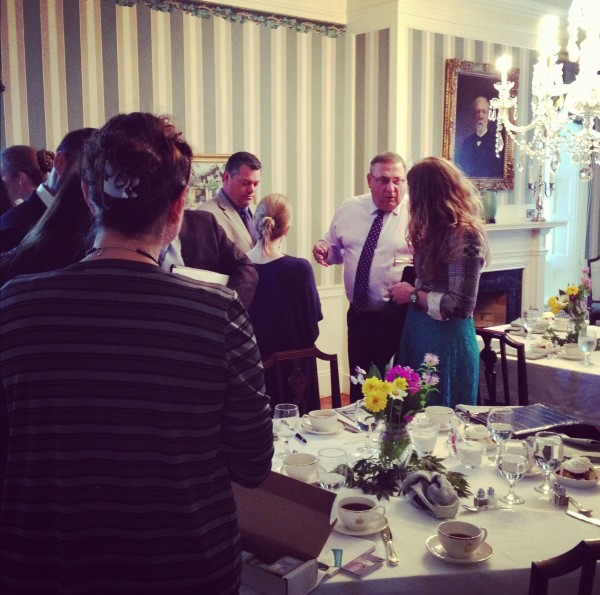 Gov. Paul LePage, second from right, speaks with Nicole Snow, of Darn Good Yarns in Sebec, during a lunch meeting at the Blaine House with microbusiness entrepreneurs. A microbusiness is any company with five or fewer employeess. Maine employes a higher percentage of its workforce in microbusinesses than any other New England state.