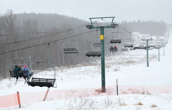 The chairlift at Big Squaw Mountain Ski Resort was a busy place as the snow fell on Sunday, Feb. 17, 2013.