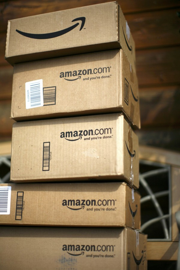 Boxes from Amazon.com are pictured on the porch of a house in Golden, Colorado in this July 23, 2008 file picture.