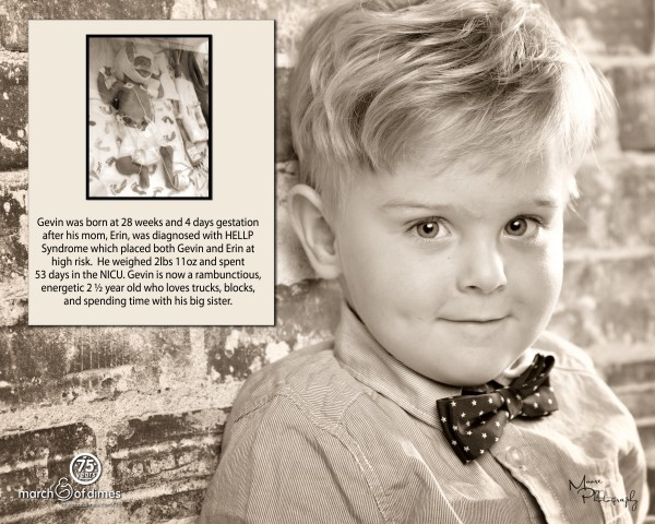 Gevin Boland of South Portland, who was born 12 weeks premature, is featured on the &quotWall of Hope&quot at Maine Medical Center in Portland.